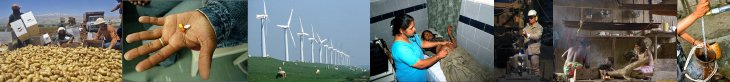 Photographs on some challenges: harvest, medicals, wind power stations, etc.